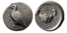 Ancient Coins - SICILY, Akragas. Circa 470-420 BC. AR Tetradrachm. Comes with David Sear's Certificate Of Authenticity