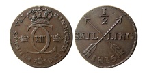 World Coins - SWEDEN. Carl XIII. 1810-1817. 1/2 Skilling.