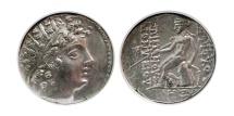 Ancient Coins - SELEUCID KINGDOM. Antiochos VI. 145-142 BC. AR Drachm.  Apameia mint. NGC XF. Rare.