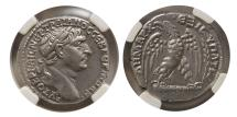 Ancient Coins - SYRIA, Antioch (or Tyre) Trajan. AD. 98-117. Silver Tetradrachm. NGC-Choice AU (Strike 5/5; Surface 4/5).