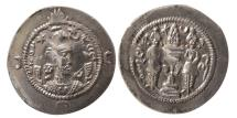 Ancient Coins - SASANIAN KINGS. Khusro I. 531-579 AD. AR Drachm. GD (Isfahan) mint. Year 29. Lovely strike.