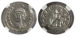 Ancient Coins - ROMAN EMPIRE. Julia Domna. AD. 193-217. AR Denarius.  NGC MS (Strike 5/5 ; Surface 4/5).