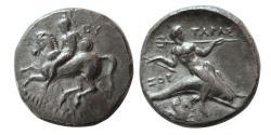 Ancient Coins - CALABRIA, Tarentum. ca. 302-280 BC. AR Nomos. Rare.
