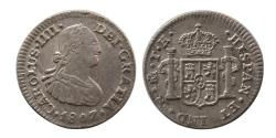 World Coins - MEXICO, Colonial. Carlos IV. King of Spain, 1788-1808. Silver ½ Reale. 1807, M, TH.