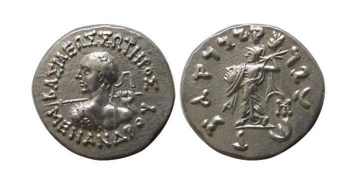 Ancient Coins - KINGS of BAKTRIA. Menander I. Circa 165/155-130 BC. AR Drachm