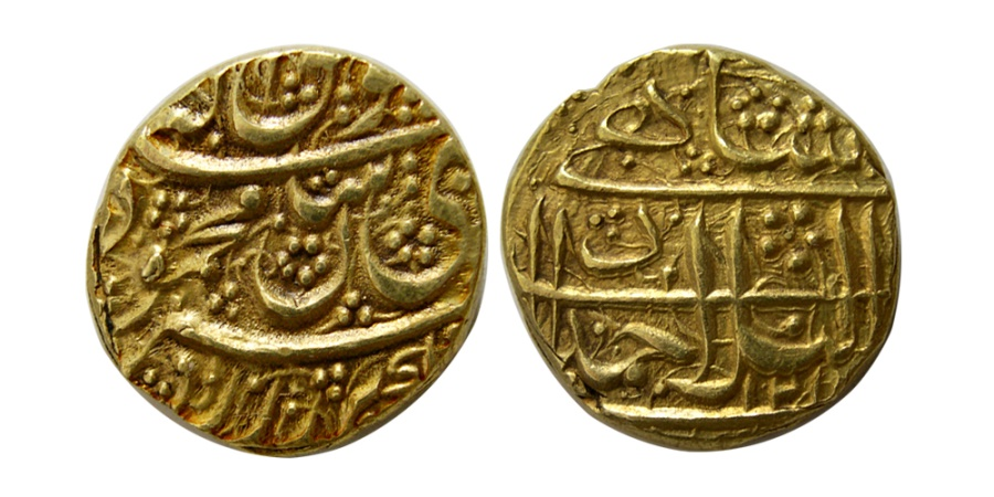 World Coins - DURRANI KINGS. Mahmud Shah. First reign, 1801-3. AD. Gold Mohur . Ahmadshahi (Qandahar) mint, AH1217