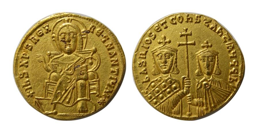 Ancient Coins - BYZANTINE EMPIRE. Basil I. AD. 867-886. AV Solidus.