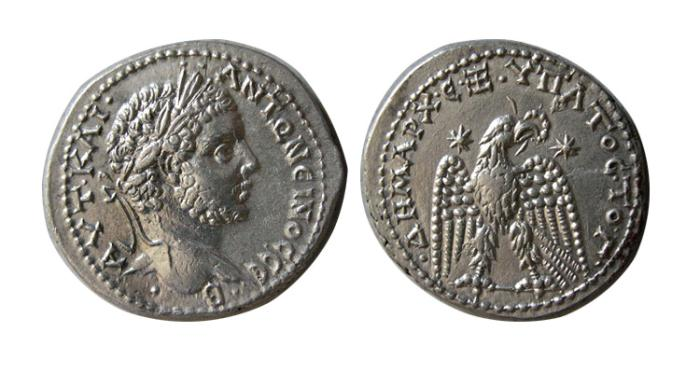 Ancient Coins - SYRIA, Seleucis and Pieria. Antioch. Caracalla. AD 198-217. AR Tetradrachm