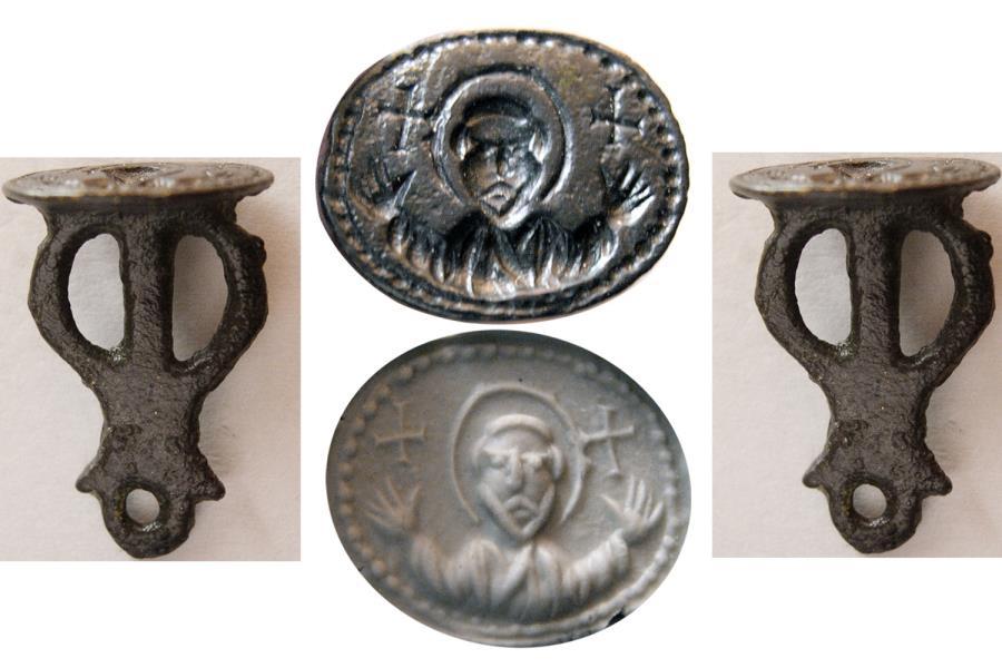 Ancient Coins - BYZANTINE EMPIRE. Ca. 9th.-10th. Century AD. Bronze Seal. Very rare.