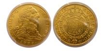 World Coins - SPAIN-Carl III. 1759-1788. Gold 4 Escudos. 1779-M PJ. Madrid. PCGS AU-55.