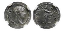 Ancient Coins - ROMAN EMPIRE. Hadrian. AD. 117-138. Silver Denarius. NGC-Choice AU (Strike 5/5; Surface 5/5).