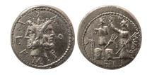 ROMAN REPUBLIC. M. Furius L.f. Philus. 119 BC. AR Denarius. Lovely strike.