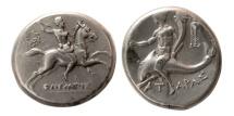Ancient Coins - CALABRIA, Tarentum. Circa 240-228 BC. AR Nomos. Rare.