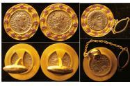 ROMAN EMPIRE, Ca. 2nd-3rd Century AD. Set of 3 Original Silver Denarius set in the 22K gold frame.