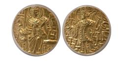 World Coins - INDIA, KUSHAN KINGS, Gadahara. Citing Peroz. AD. 360-375. Gold Dinar. ANACS-AU55.