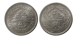 World Coins - LEBANON. 1952. 49 Count Roll of 50 Piastres. Choice UNC.