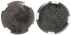 Ancient Coins - GREAT BRITAIN. George III. 1787. One Schilling. ESC-1225 Hearts. NGC-AU58.