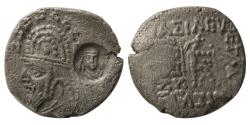 Ancient Coins - INDO-PARTHIANS, Unknown king. BI Drachm. Margiana mint with a countermark. Extremely Rare.