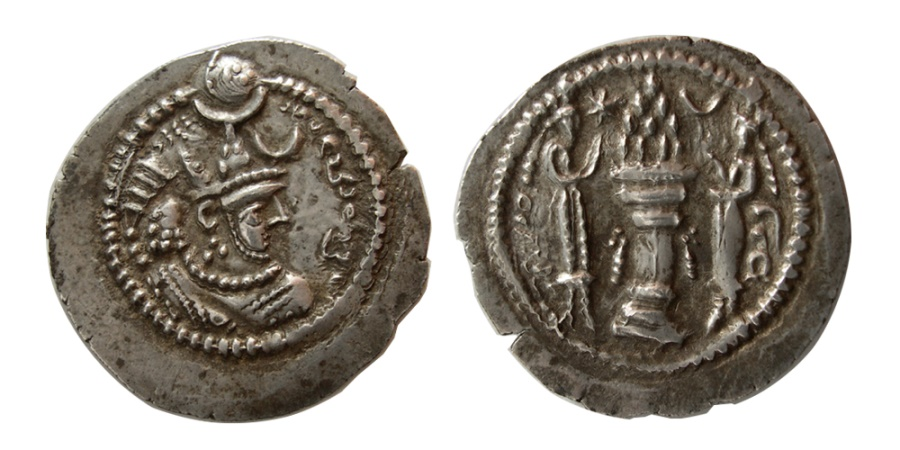 Ancient Coins - SASANIAN KINGS. Peroz. second crown, AD. 457/9-484. Silver Drachm. From The Sunrise Collection.