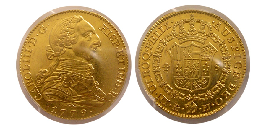 World Coins - SPAIN-Carl III. 1759-1788. Gold 4 Escudos. 1779-M PJ. Madrid. PCGS AU-55.