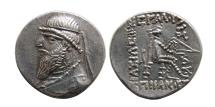 Ancient Coins - KINGS of PARTHIA. Mithradates II. . 121-91 BC. AR Drachm. Unusual style.