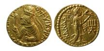 World Coins - INDIA; Kushan Empire. Huvishka. Ca. AD. 152-192. Gold Dinar. Very rare.
