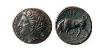Ancient Coins - SICILY, Syracuse. Circa 289-278 BC. Æ Trias. Lovely elegant style.