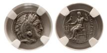 Ancient Coins - KINGS of MACEDON. Philip III Arrhidaios. 323-317 BC. AR Drachm. Kolophon mint. NGC-Choice XF.
