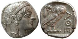 Ancient Coins - ATTICA, Athens. 440-404 BC. AR Tetradrachm. Sharply struck. Lightly toned.