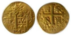 World Coins - PERU. 1746-47L, V. Fernando VI. Gold 8 Escudos. Stars. Ship Wreck Sea Salvaged. ANACS-VF 20 details.