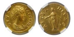 Ancient Coins - ROMAN EMPIRE. Diva Faustina I. after 141 AD. Gold Aureus. NGC-MS*. Fine style. Lustrous.