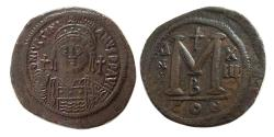 Ancient Coins - BYZANTINE EMPIRE. Justinian I. AD. 527-565. Æ Follis.