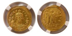 Ancient Coins - BYZANTINE EMPIRE. Phocas. AD. 602-610. Gold Solidus. NGC certified. Choice FDC. Lustrous.