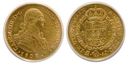 World Coins - SPAIN, Carlos III. 1808-M, AI. Gold 2 Escudo. Madrid mint. ANACS-AU55.
