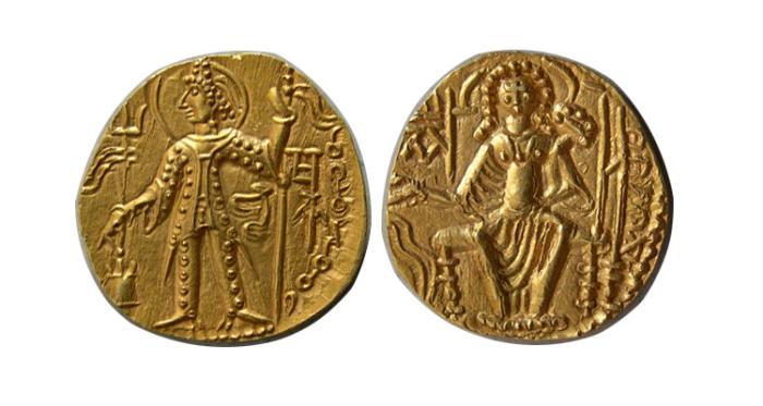 Ancient Coins - INDIA. KUSHAN. Vasudeva II. Circa 290-310 AD. AV Dinar