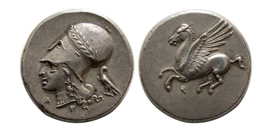 Ancient Coins - CORINTHIA, Corinth. Circa 375-300 BC. AR Stater. Choice Superb EF. Lovely strike.