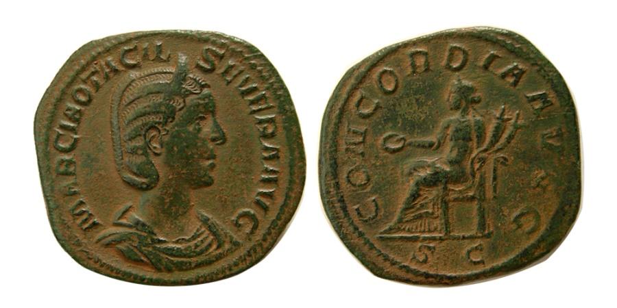 Ancient Coins - ROMAN EMPIRE. Otacilia Severa, wife of Philip I. 244-249 Æ Sestertius.