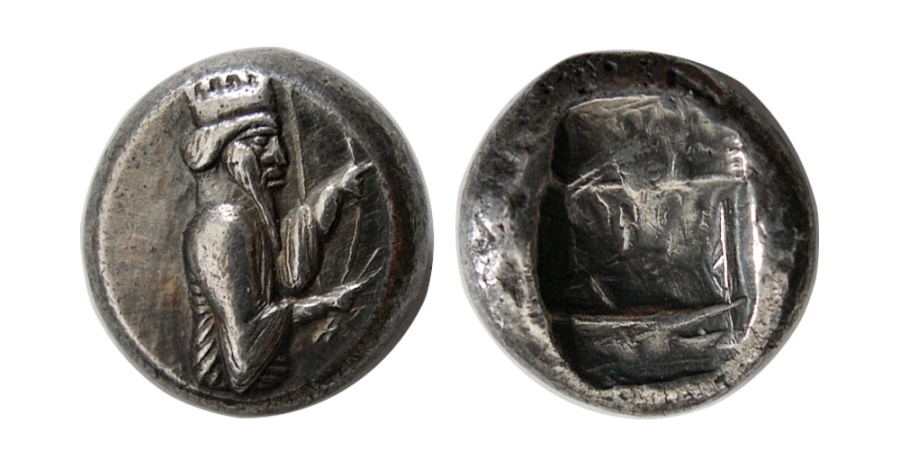 Ancient Coins - ACHAEMENID EMPIRE. temp. Darios I. Circa 520-505 BC. AR Siglos. Very Rare. From the Sunrise Collection.