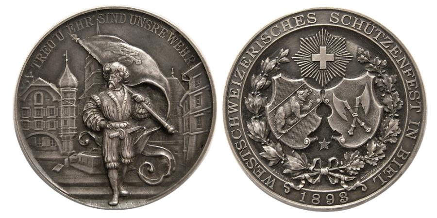 World Coins - SWITZERLAND. Shooting Festival Medal. ca. 19th. Century. Silver Medallion. dated 1893.