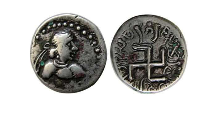 Ancient Coins - INDO-SKYTHIANS. Paratarajas, Arjuna. Circa 150-165 AD. AR Drachm