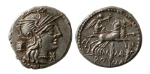 Ancient Coins - ROMAN REPUBLIC. M. Marcius Mn. f. 134 BC. AR Denarius.