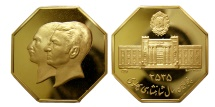 PAHLAVI DYNASTY. Gold Medal. Commemorating the 50th anniversary of Pahlavi Dynasty. Lustrous.