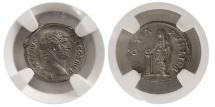 Ancient Coins - ROMAN EMPIRE. Hadrian. 117-138 AD. AR Denarius. NGC AU (Strike 5/5; Surface 4/5).
