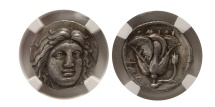Ancient Coins - CARIA, Islands of Rhodes. late 4th-early 3rd Century BC. Silver Didrachm. NGC Choice XF. Fine Style.