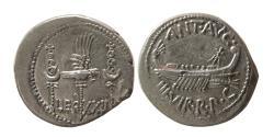 "Ancient Coins - ROMAN EMPIRE. Marc Antony. 32-31 BC. AR Denarius.  ""Legionary Coinage"". Lovely strike."