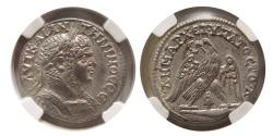 Ancient Coins - PHOENICIA, Tyre. Caracalla. AD. 198-217. BI Tetradrachm. NGC-MS (Strike 5/5; Surface 5/5).