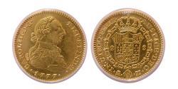 Ancient Coins - SPAIN. Carlos III. 1759-1788. Gold 2 Escudos. 1777-M,PJ. Madrid. ANACS-AU 53.