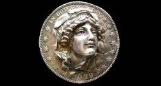 World Coins - United States. Rare 1909 Punched-Out Silver Half Dollar Lapel Pin.