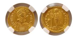 Ancient Coins - BYZANTINE EMPIRE. Anastasius I. AD. 491-518. Gold Solidus. NGC MS (Strike 5/5; Surface 4/5).