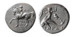 Ancient Coins - CALABRIA, Tarentum. Circa 280-272 BC. Silver Nomos.
